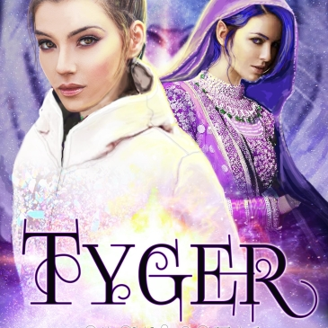 Book cover for Tyger showing a human girl in a white jacket and an alien girl in purple robes, with a tiger's face in the background.